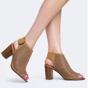 CityClassified | Perforated Peep Toe Booties Tan